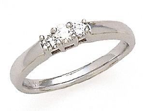 14k Three Stone 1/4 Carat Total Weight Diamond Ring                                              -                                                  This romantic three-stone engagement ring sparkles with 1/4 carat (ctw) of luminous diamonds. A setting of 14 karat white gold enhances the icy brilliance of the diamonds, while the warm glow of white gold adds a rich touch of color. Celebrate your Past, your Present, and your Future with this elegant three-stone ring