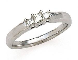 1/4 Carat Total Weight Princess Cut Three Stone Diamond Ring                       -                                                Simplicity and elegance. This three stone diamond ring is absolutely breathtaking. Set in 14 karat white gold, it features 1/4 carat (ctw) of exquisite diamonds.