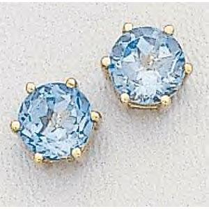 Blue Topaz Earrings 6mm Round