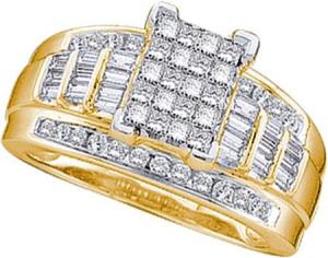 1.00 CTW Diamond Ring with Invisible set multistone princess cut diamond Center -This ring is a melting pot of differently cut diamonds thrown in together in a way that can only suggest perfection. Made with 14 karat yellow gold, baguette and brilliant diamonds combine shimmering powers and additionally highlighted with princess cut diamonds