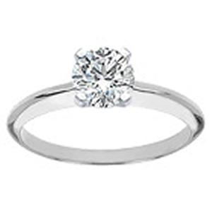 3/4 Carat Brilliant Cut Diamond Solitaire Ring                                                 -                                                  - Fashioned in 14 karat white gold, a single crisp diamond (3/4 ctw) sets itself delicately along the glistening shank in this classic engagement ring.