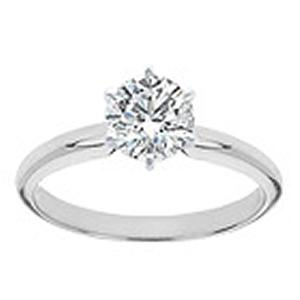 1 Carat Brilliant Cut Diamond Solitaire with Six Prong Setting                                            -                                                                  The secret to true beauty is simplicity. The sleek, clean lines of this classic solitaire engagement ring will always be in style. A stunningly clear 1 carat diamond sparkles in a 6-prong setting of rich 14 karat white gold