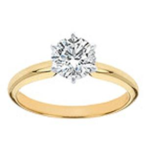 5/8 Carat Brilliant Cut Diamond Solitaire Ring with Six Prong Setting                                                               The secret to true beauty is simplicity. The sleek, clean lines of this classic solitaire engagement ring will always be in style. A stunningly clear 5/8 carat diamond sparkles in a 6-prong setting of rich 14 karat yellow gold