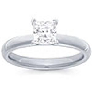 1 Carat Princess Cut Diamond Solitaire                                                                    -                                                          Fashioned in 14 karat white gold, a single crisp princess cut diamond (1 carat (ctw)) sets itself delicately along the glistening shank in this classic engagement ring.