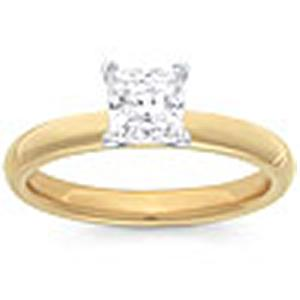 1 Carat Princess Cut Diamond Solitaire                                                    -                              Fashioned in 14 karat yellow gold, a single crisp princess cut diamond (1 carat (ctw)) sets itself delicately along the glistening shank in this classic engagement ring.