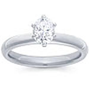 1/2 Carat Oval Cut Diamond Solitaire                                       -                                                  Fashioned in 14 karat white gold, a single crisp oval cut  diamond (1/2 carat (ctw)) sets itself delicately along the glistening shank in this classic engagement ring.