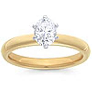 1/2 Carat Oval Cut Diamond Solitaire                                                   -                                  Fashioned in 14 karat yellow gold, a single crisp oval cut  diamond (1/2 carat (ctw)) sets itself delicately along the glistening shank in this classic engagement ring.