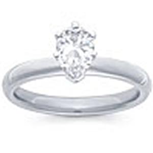 1/2 Carat Pear Cut Diamond Solitaire                                             -                                     Fashioned in 14 karat white gold, a single crisp pear cut  diamond (1/2 carat (ctw)) sets itself delicately along the glistening shank in this classic engagement ring.