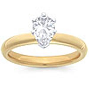 1/2 Carat Pear Cut Diamond Solitaire                                                    -                                      Fashioned in 14 karat yellow gold, a single crisp pear cut  diamond (1/2 carat (ctw)) sets itself delicately along the glistening shank in this classic engagement ring.