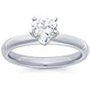 1/2 Carat Heart Shape Diamond Solitaire                                           -                                                 Fashioned in 14 karat white gold, a single crisp heart shaped diamond (1/2 carat (ctw)) sets itself delicately along the glistening shank in this classic engagement ring