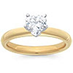 1/2 Carat Heart Shape Diamond Solitaire                                                                           -                                                     Fashioned in 14 karat yellow gold, a single crisp heart shaped diamond (1/2 carat (ctw)) sets itself delicately along the glistening shank in this classic engagement ring
