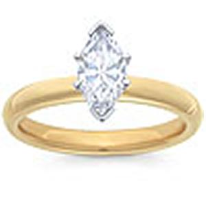 1/2 Carat Marquise Diamond Solitaire Ring                                                                 -                                                       A single 1/2 (ctw) carat Marquie sparkles eminently from a glowing 14 karat yellow gold shank in this diamond solitaire engagement ring your soon-to-be wife will cherish forever. Also available in white gold.
