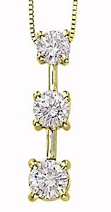 1/4 Carat Total Weight Three Stone Diamond Pendant with 18