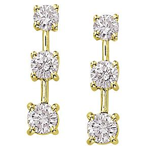 1 Carat Total Weight Three Stone Diamond Earrings                                                                                           -                                This stunning earrings features three diamonds amounting to 1 carats. The stones are set in 14 karat yellow gold and make a beautiful gift for any occasion. Matching pendant also available.