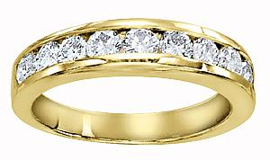 1/2 Carat Total Weight Diamond Women Band                -                                                                               Stay true to your word with this exquisite and simple semi eternity  wedding ring. Crafted in 14 karat yellow gold and boasting a lovely row of diamonds along the forefront, total diamond weight here equals 1/2 carat (ctw)