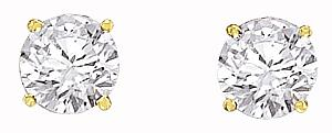 14 Karat Gold 1/2 C.T.W. Diamond Stud Earrings                                                         -                                                                              .  No jewelry box would be complete without these classic stud earrings. Two sparkling round diamonds (1/2 carat weight) glow in a rich setting of 14 karat yellow gold. For a truly elegant look at a great price. Also available in white gold