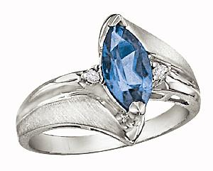 Marquise shape 10x5 Blue Topaz and 0.03 Carat Total Weight Diamond Ring                                                                                      -                                                                           Sleek, modern elegance radiates from this stunning gemstone ring. A luminous 10x5mm blue topaz glows in the flowing embrace of lustrous 10 karat white gold. Two crisp diamonds add fire and contrast.