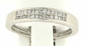 1/4 Carat Total Weight Invisible set Princess cut Diamond Band                           -                                                                               14 karat white gold form a beautiful bond in this diamond anniversary band that also flaunts a two row of quality brilliant princess cut  diamonds (1/4 carat (ctw).
