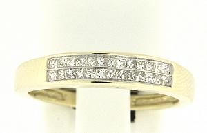 1/4 Carat Total Weight Invisible set Princess cut Diamond Band                                 -                                            14 karat yellow gold form a beautiful bond in this diamond anniversary band that also flaunts a two row of quality brilliant princess cut  diamonds (1/4 carat (ctw).