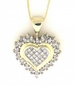 1/2 Carat Total Weight Diamond Heart Pendant with 18