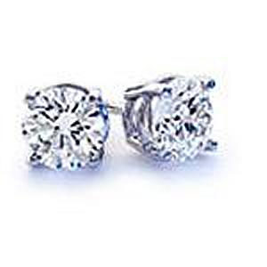 14 Karat White Gold 1 C.T.W. Diamond Stud Earrings with screw backs