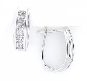 1/2 Carat Total Weight Invisible Set Princess Cut Diamond Earrings -These beautiful diamond earrings make a great piece to wear when you want to dazzle those around you. With a full 1/2 carat of two rows of  princess cut  diamonds set in brilliant 14 karat white gold, you'll be sure to catch the eye of that special someone