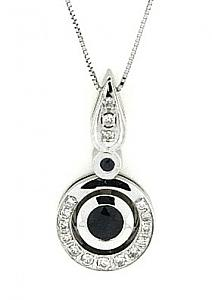 Sapphire and Diamond Pendant with 18
