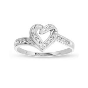 Heart full of love in you and heart full of diamonds in this rings nothing better could express your words than this beautiful 10 karat white gold base and 0.08 carat diamond weight ring. Get yours today!