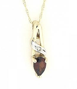 Garnet and Diamond Pendant with 18