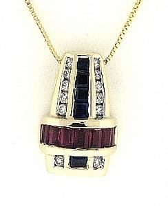 Ruby Sapphire and Diamond Pendant with 18