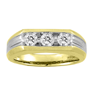 This Bold and Classy Three Diamond Mens Ring has a high polished two tone finish. Ring has three brilliant cut diamond with a total carat weight of 0.50 carat set in 14 Karat Yellow Gold. Perfect as Wedding Ring or as Stylish  Jewelry.