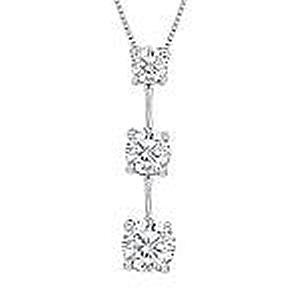 1 Carat Total Weight Three Stone Diamond Pendant with 18