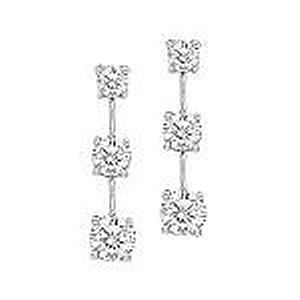 1/2 Carat Total Weight Three Stone Diamond Earrings                                                            -                                                          These stunning 3 stone earrings feature 1/2 carat of beautifully clear brilliant-cut diamonds. Each earring sparkles with 3 round diamonds set in lustrous 14 karat white gold.