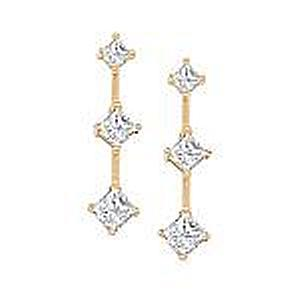 1 Carat Total Weight Three Stone Diamond Earrings                                                                           -                                            Feel like a princess in this simple but spectacular pair of diamond 3 stone earrings. Held in warm 14K gold, princess-cut diamond shines radiantly in each earring, so beautiful it needs no accompaniment. The diamonds total a breathtaking 1 ct.