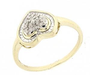 1/10  Carat Total Weight Diamond Fashion Ring -A heart shaped 10 karat yellow gold is set in 1/10 carat worth of diamonds is perfect gift for your valentine.Also available in white gold.