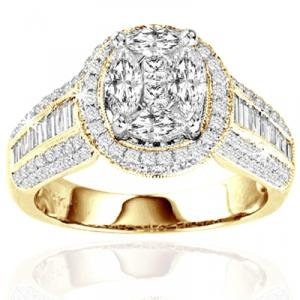 14 KT Yellow Gold Engagement Ring. This stunning engagement ring features a multi stone center  surrounded by  additional round diamonds. The band of 14K yellow gold is awash in round and baguette diamonds. 1.75 carats total diamond weight.