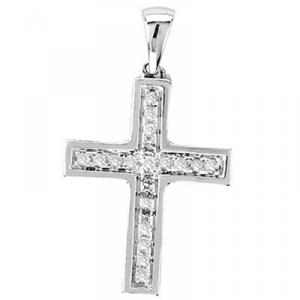 Wear your faith in style with this beautiful 1/10 CT diamond cross pendant crafted in lustrous 10K white gold. A  gold box chain is also included.