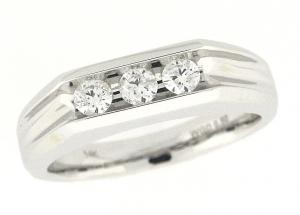 1/2 ctw. Diamond mens Ring - Simple enough to celebrate the love of togetherness in this classic 14 karat white gold band.