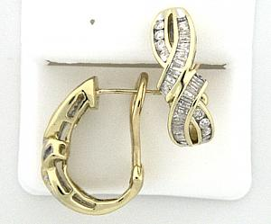1.0 C.T.W Round and Baguettes Diamond Earrings