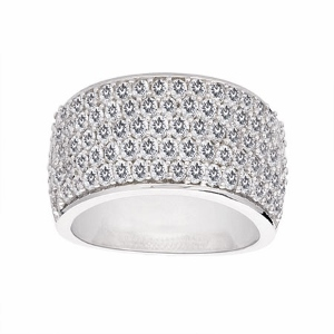 This bold and beautiful pave set diamond ring with five rows of sparkling diamonds has a total carat weight of 1.50 carat. This multipurpose diamond ring is good as Wedding Ring, Anniversary Band or Fashion Ring.