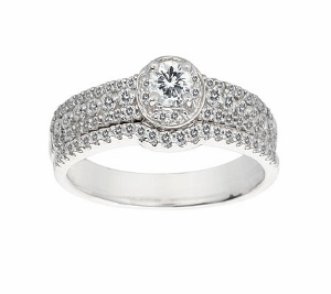 This Elegant Diamond Bridal Set including Engagement Ring and Wedding Band has a Total Carat Weight of 0.75 Carat. Engagement Ring has a Round Center Diamond and is set in 14 Karat White Gold.