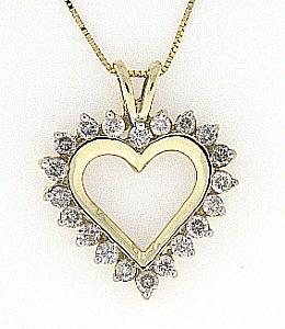 1 C.T.W. Diamond Heart Pendant with 18