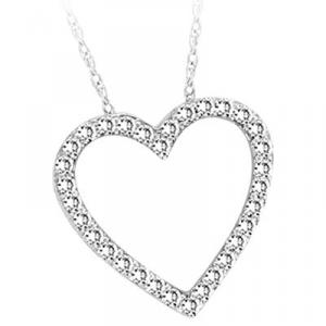 Sterling Silver and Diamond  Heart Pendant with 1/5 ct diamond.Diamond heart pendants are simple way to say I love you.
