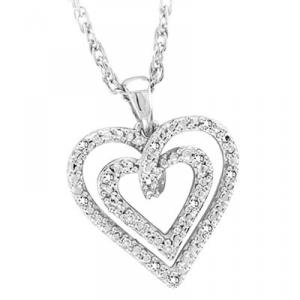 Sterling Silver and Diamond Double Heart Pendant. Express your love with this Double Heart!!