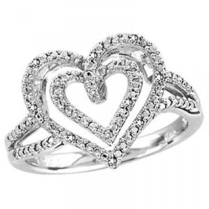 Sterling Silver Ring With Diamonds. Doubly romantic, the design of this glowing ring makes it all the more appealing, Two open polished sterling silver hearts Ring.