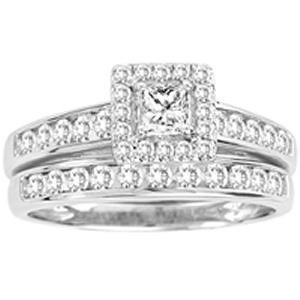One of the most elegant and beautiful styles of diamond bridal sets in 10KT White Gold. The center piece of the ring is, of course, the gorgeous 1/4ct princess cut center diamond. Delicately placed around the center diamond and along the band are fiery little diamonds held into place by tiny prongs, giving the overall look of full sparkle and fire!