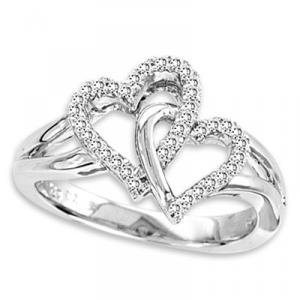 Double Heart Silver Ring with 0.11 ctw diamonds.Two hearts and twice the glitter. Our Sterling Silver  White Diamond Double Heart Ring has a flash that will make any Valentine's heart flutter.This double heart ring is a winner any time of the year. Perfect for a heart promise ring!