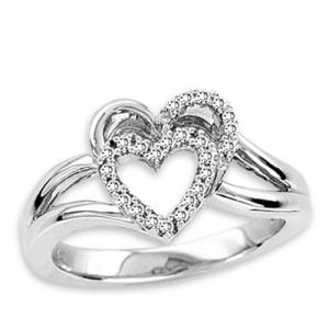 Diamond Heart Ring- Sterling Silver Ring with White Diamond total 0.11 ctw. Double Heart Ring has a flash that will make any Valentine's heart flutter.This double heart ring is a winner any time of the year. Perfect for a heart promise ring!