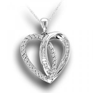 Sterling Silver pendant with White Diamond total 0.24 ctw. Heart Pendant has a flash that will make any Valentine's heart flutter.