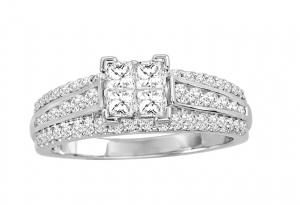 10K White Gold 1 Ct.tw. Diamond Fashion Invisible Ring